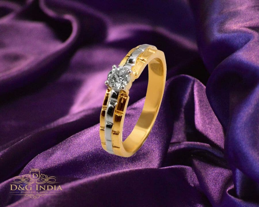 Ideal Cut Gold and Diamond Solitaire Engagement Ring