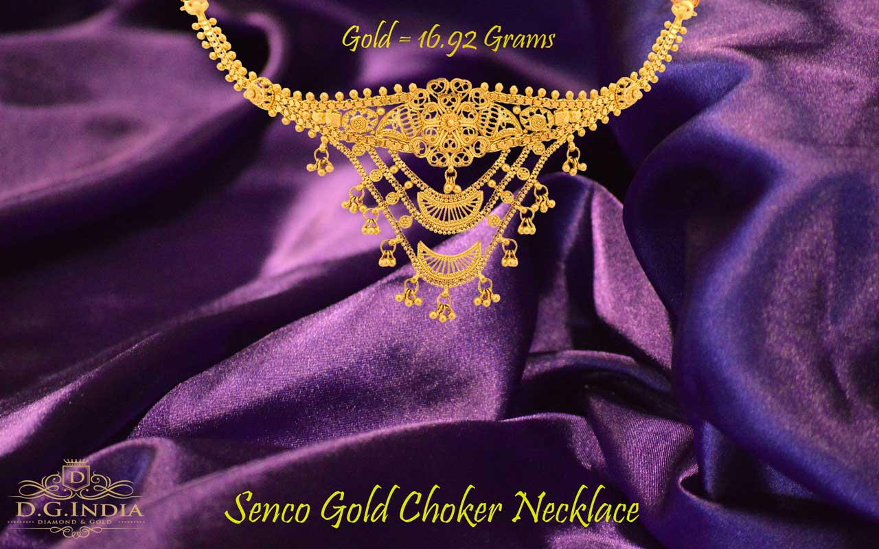 Gold Choker Necklace Design by Senco Gold