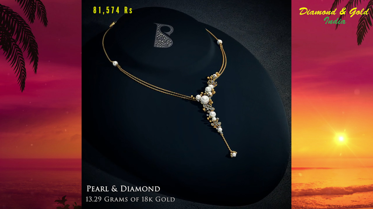 Yellow Gold Pearl Necklace Design