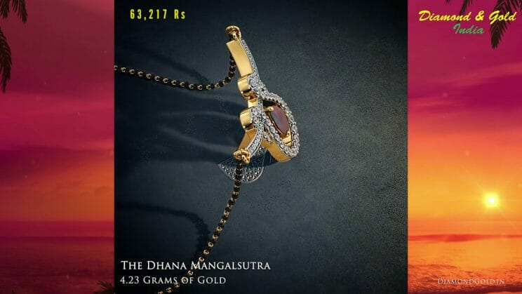 0.64 carat Diamond and Ruby Mangalsutra Necklace