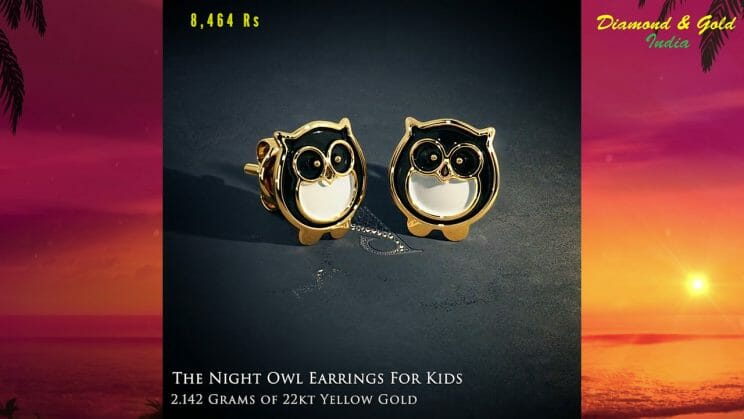 Owl Earrings For Babies in Gold