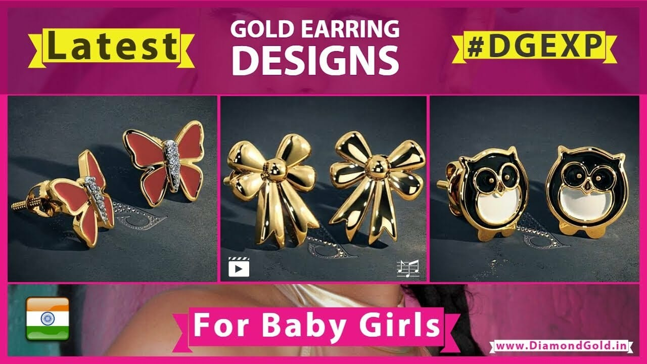 baby gold earrings designs with 3