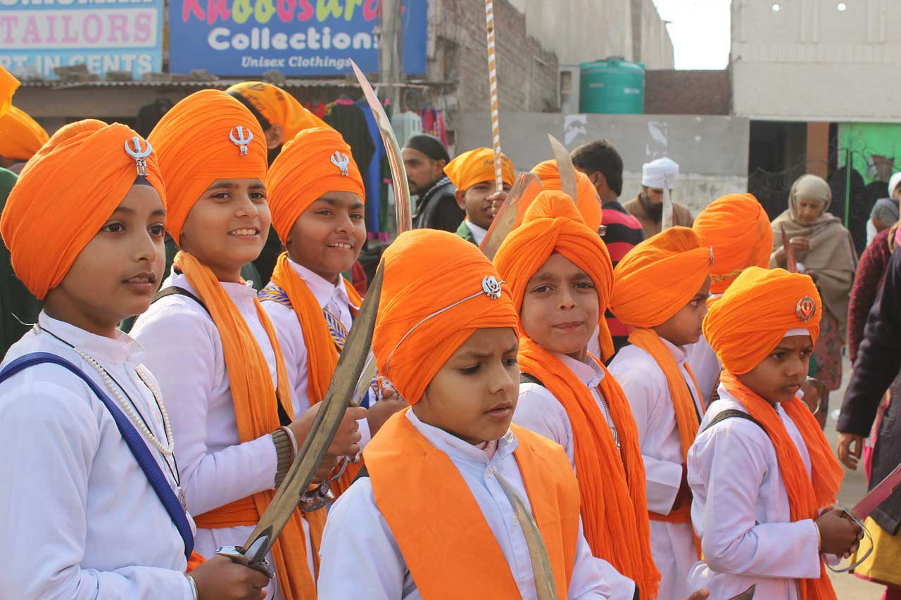 Sikh Festival showing Young People in Sikh Attire