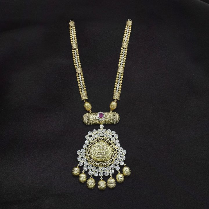 Gold Necklace with Uncut Diamonds