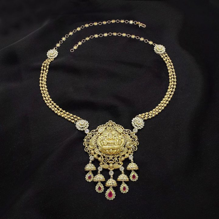 Latest Gold Necklace with Uncut Diamonds