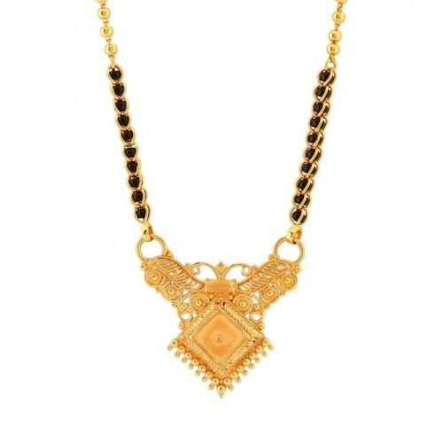 Black Bead Mangalsutra Necklace in Gold