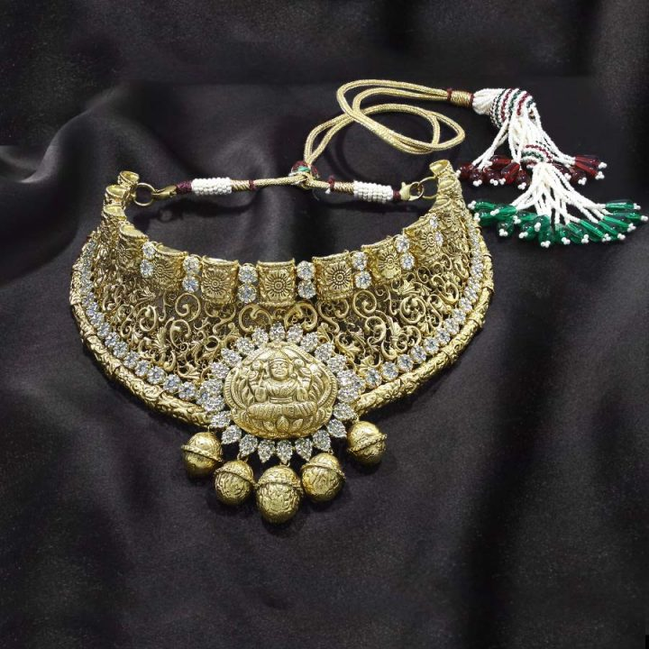 Gold Choker Necklace with Uncut Diamonds