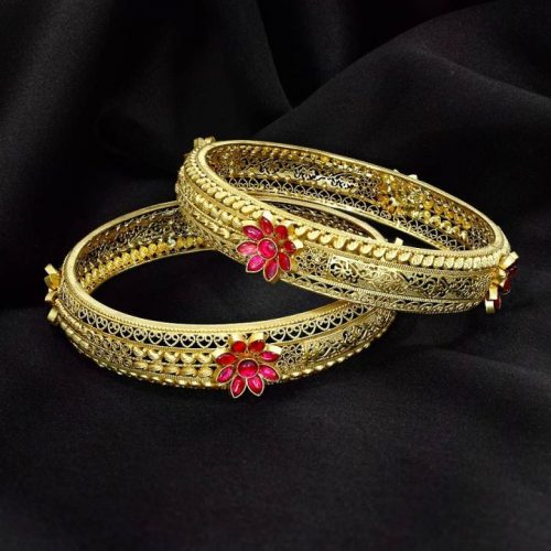 Gemstone Gold Bangles in 20 Grams with Price
