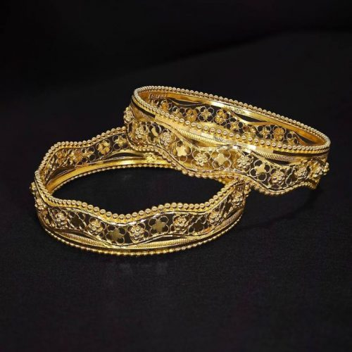 Fancy Bangle in 22k Yellow Gold for Ladies