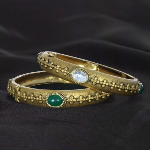 Kundan Gold Bangle Design in 20 Grams