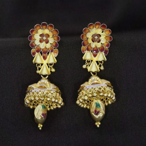 10 Gram Jhumka Earrings in Yellow Gold