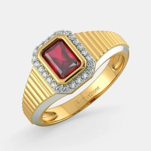 Ruby Ring for Men with Diamond