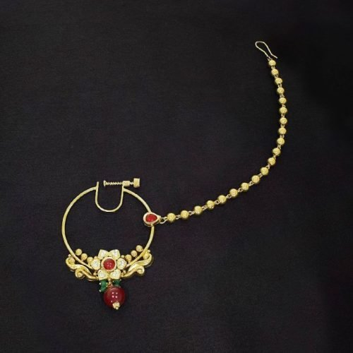 Indian Nath Nose Ring Design in Gold