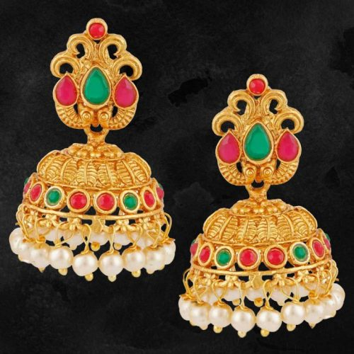 1-Gram-Gold-Jhumka-Earrings-with-Jewels