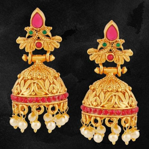 One-Gram-Gold-Plated-Temple-Jewellery-Earrings