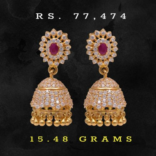 Colourful-Jhumka-Designs-in-22k-Gold-with-Price