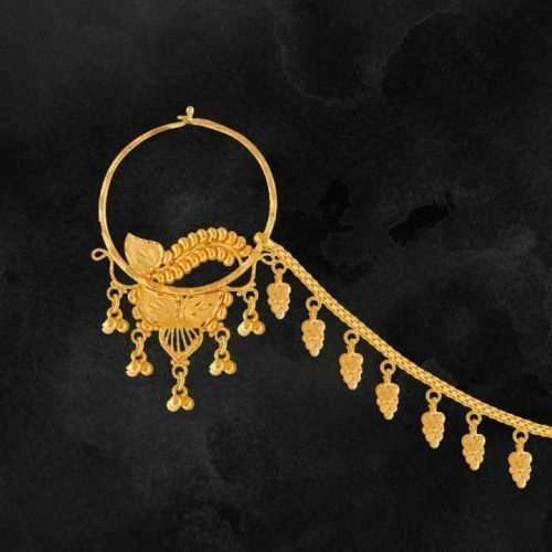 Gold-Nathiya-Bridal-Nose-Ring-22kt