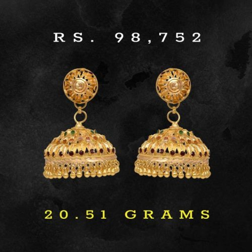 Joyalukkas-Jewellery-Designs---22k-Gold-Jhumka-Earrings