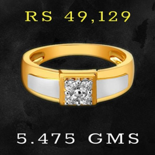 Mens 2 Gold Diamond Ring Design from Tanishq