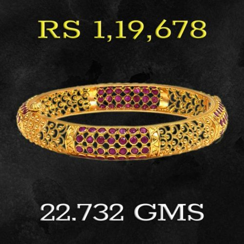 Ratna Collection Gold and Ruby Bangle Design with Price and Weight