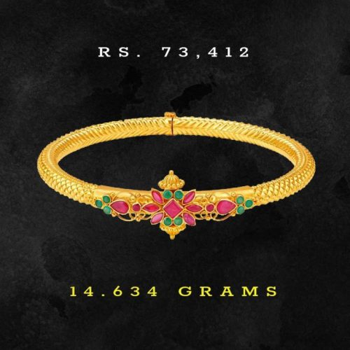 Tanishq-Ruby-and-Emerald-Bangle-in-22kt-Gold