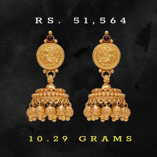 Traditional-Style-Jhumka-Earrings-in-22k-Gold