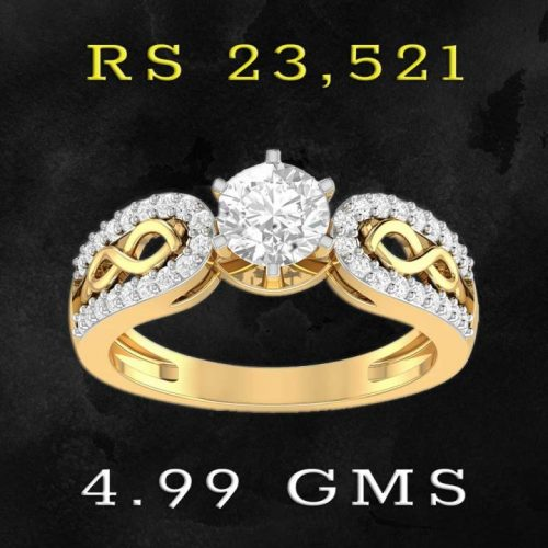22Kt Gold Diamond Solitaire Rings for Women