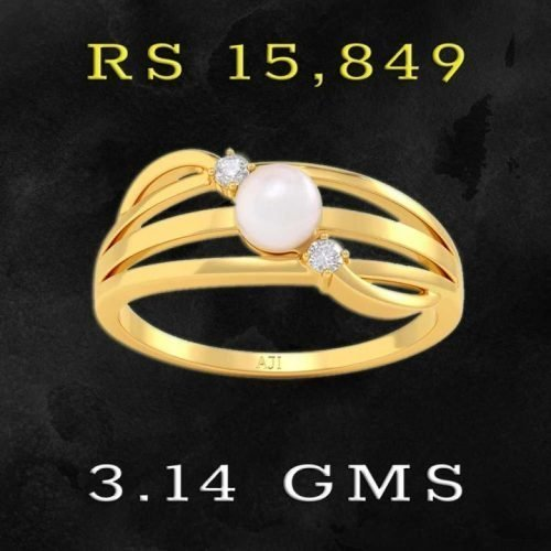 22Kt Gold Pearl Ring for Girls with Price and Weight