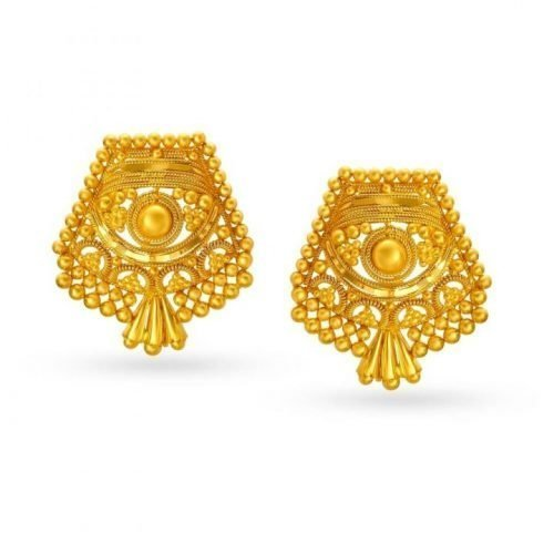 Antique Style Gold Stud Earrings 22K Tanishq