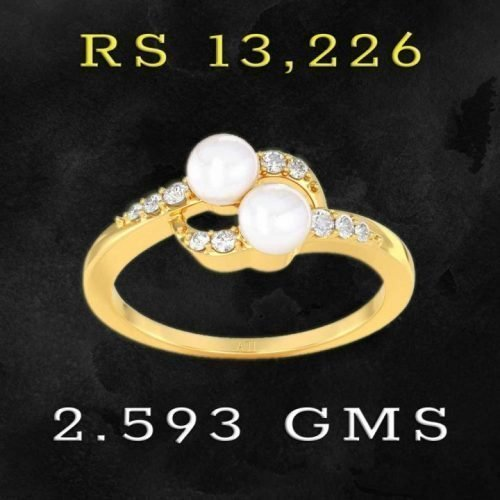 Diamond and Pearl 22K Gold Rings for Girls