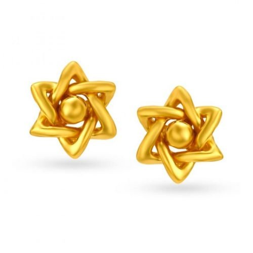 Simple Tanishq Gold Stud Earrings with Price