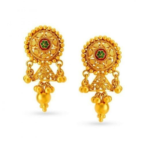 Traditional Gold Stud Earrings with Price and Weight
