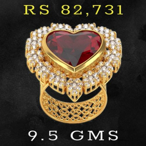 Uncut Diamond and Ruby Ring Design for Girls
