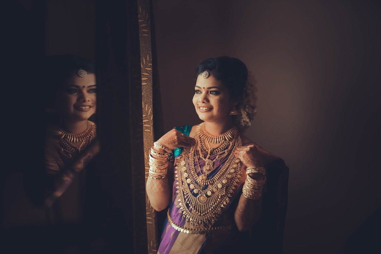 Indian Bride Tries on Many Rani Haar Necklaces