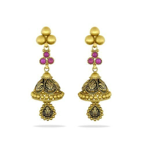 Traditional Antique Gold Jhumka Earrings