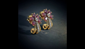 Latest Ruby & Gold Earrings Designs by BlueStone