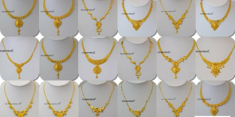 Latest Light Weight Gold Necklace Designs in 10 Grams For Women